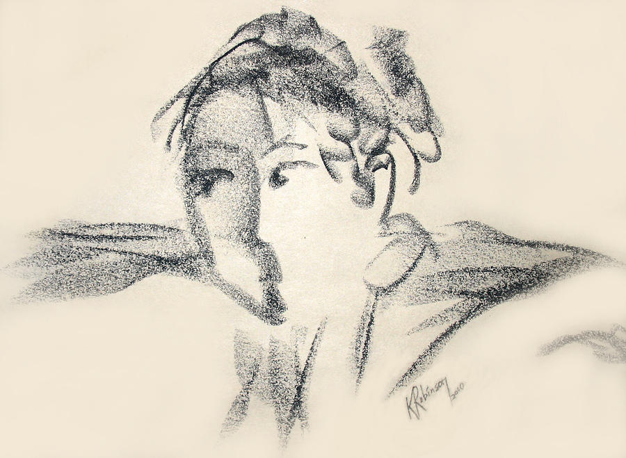 Face Drawing - Dancing Face by Karen A Robinson