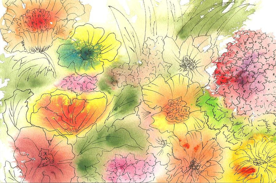 Watercolor Painting - Dancing Flowers by Christine Crawford