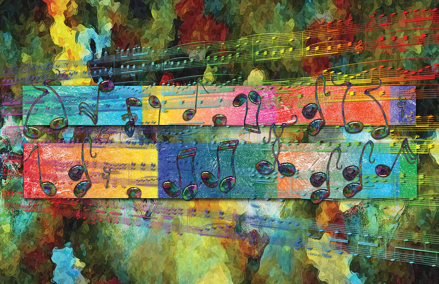 Abstract Digital Art - Dancing Notes Yellow 2 by David Glotfelty