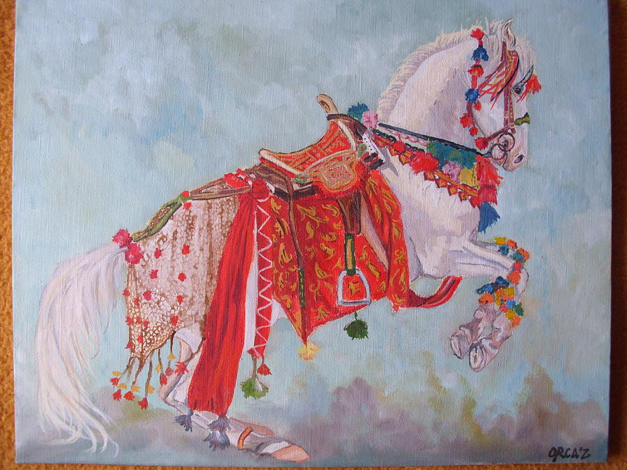 Horse Painting - Dancing Nukra by Zorka Velickovic