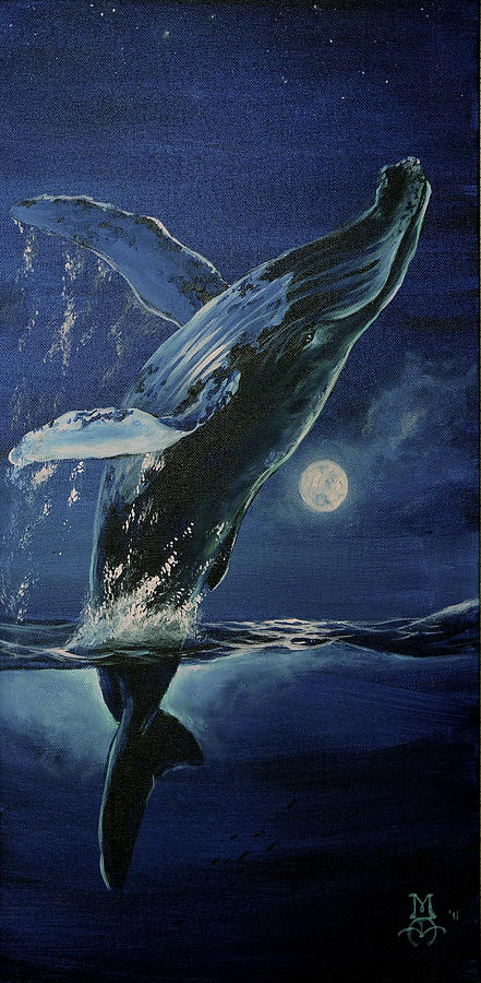 Humpback Painting - Dancing With The Moon by Marco Antonio Aguilar
