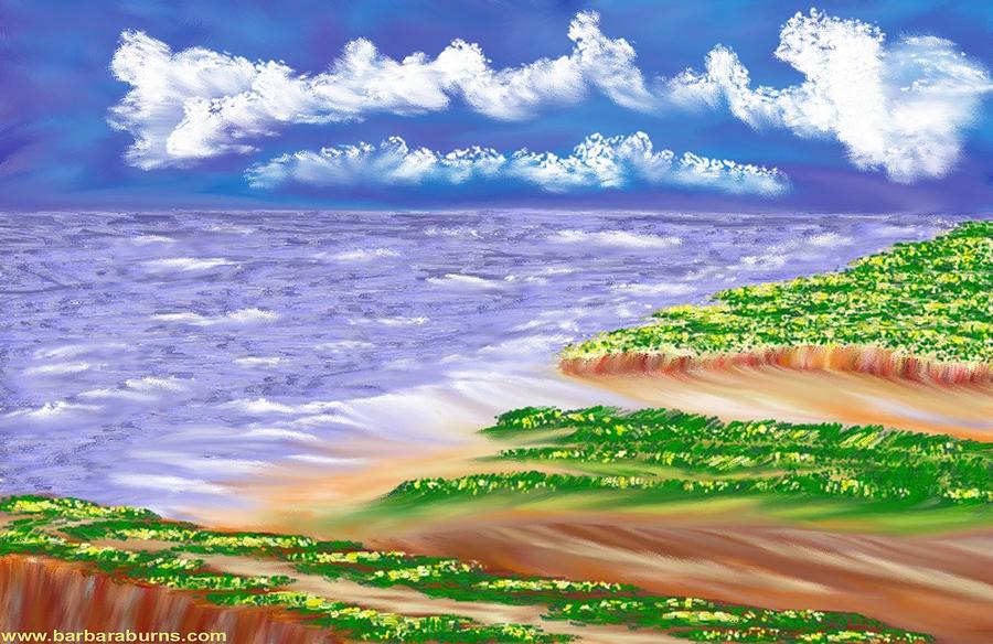 Dandelion Digital Art - Dandelion Coast by Barbara Burns