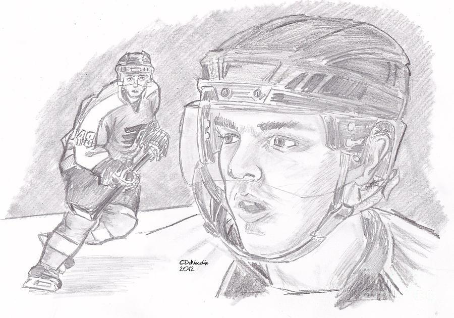 Flyers Drawing - Danny Briere by Chris  DelVecchio