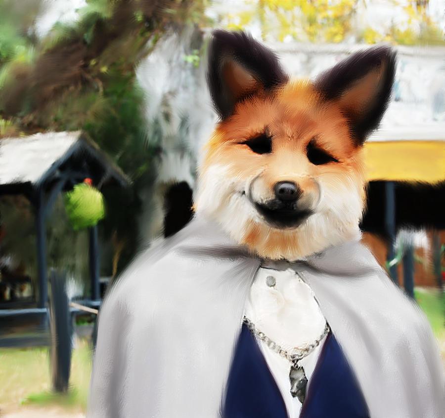 Fox Digital Art - Dapper by Jessica Castillo