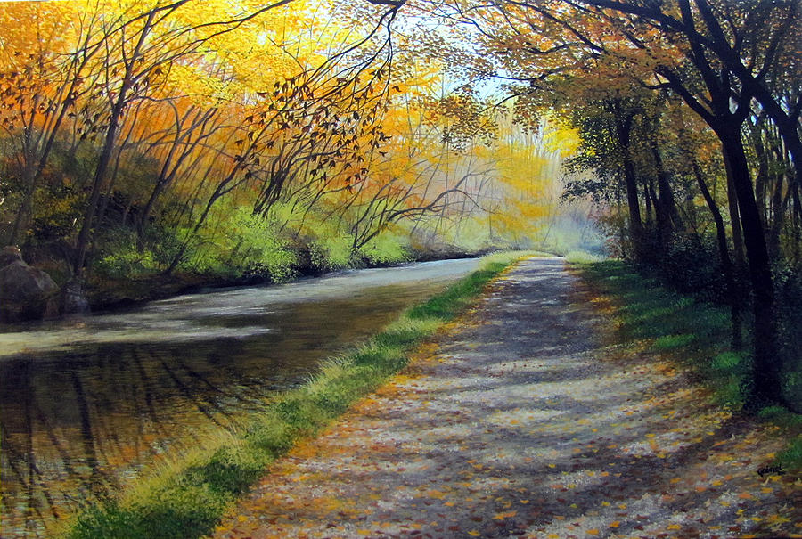 Romantic Painting - Dappled Autumn Light by David Bottini