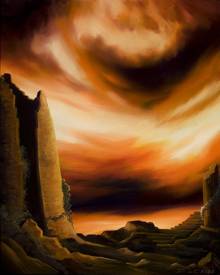 Nature; Lake; Sunset; Sunrise; Serene; Forest; Trees; Water; Ripples; Clearing; Lagoon; James Christopher Hill; Jameshillgallery.com; Foliage; Sky; Realism; Oils; Ruins; Rome; Greece Painting - Dark Columns by James Christopher Hill