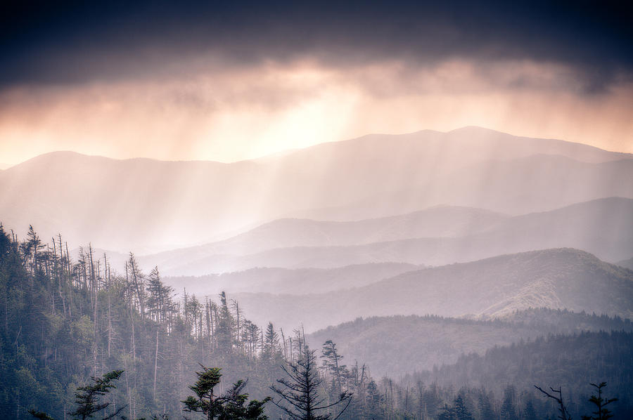 Great Smokey Mountains Photograph - Dark Vista Over The Smokys by Pixel Perfect by Michael Moore