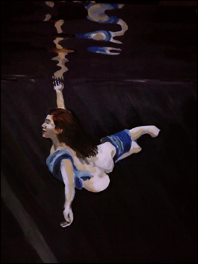 Water Painting - Dark Water Dive by Adam Kissel