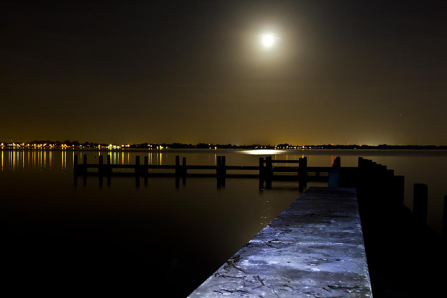 Night Photograph - Darkness On The Bradenton Bay by Nicholas Evans
