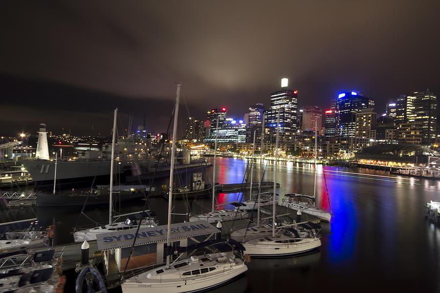 Darling Harbor Photograph - Darling Harbor Sydney Skyline 2 by Douglas Barnard