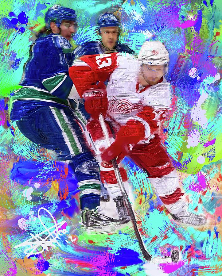 Hockey Painting - Darren Helm by Donald Pavlica