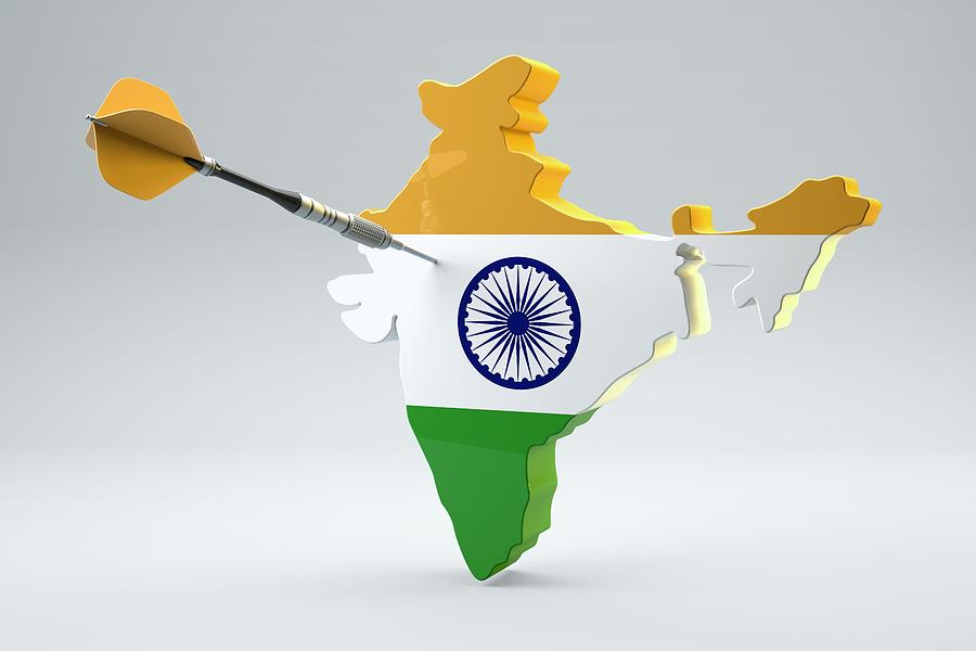 Horizontal Digital Art - Dart Arrow In A Shape And Ensign Of India by Dieter Spannknebel