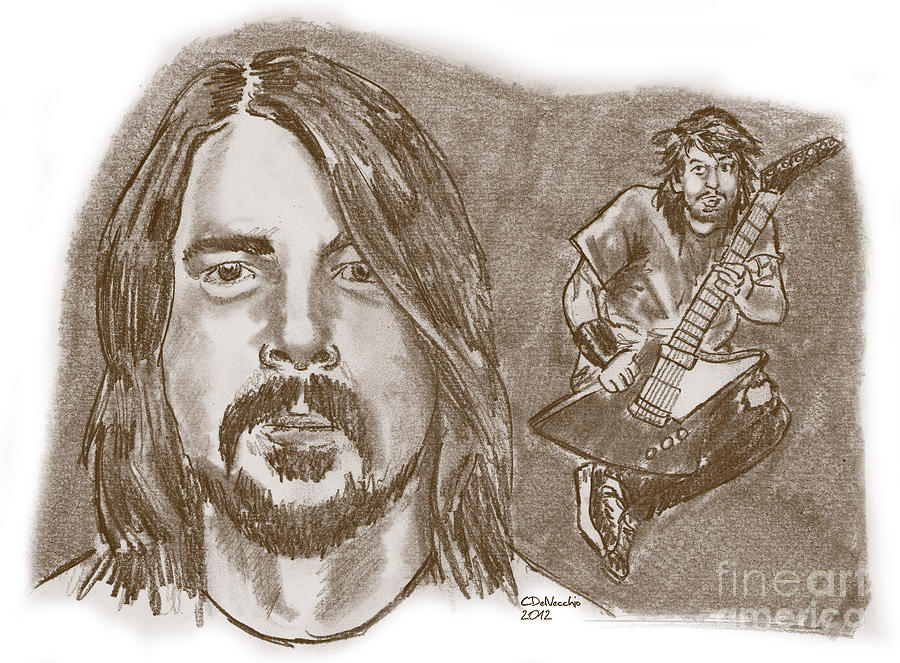 Dave Grohl Drawing by Chris  DelVecchio