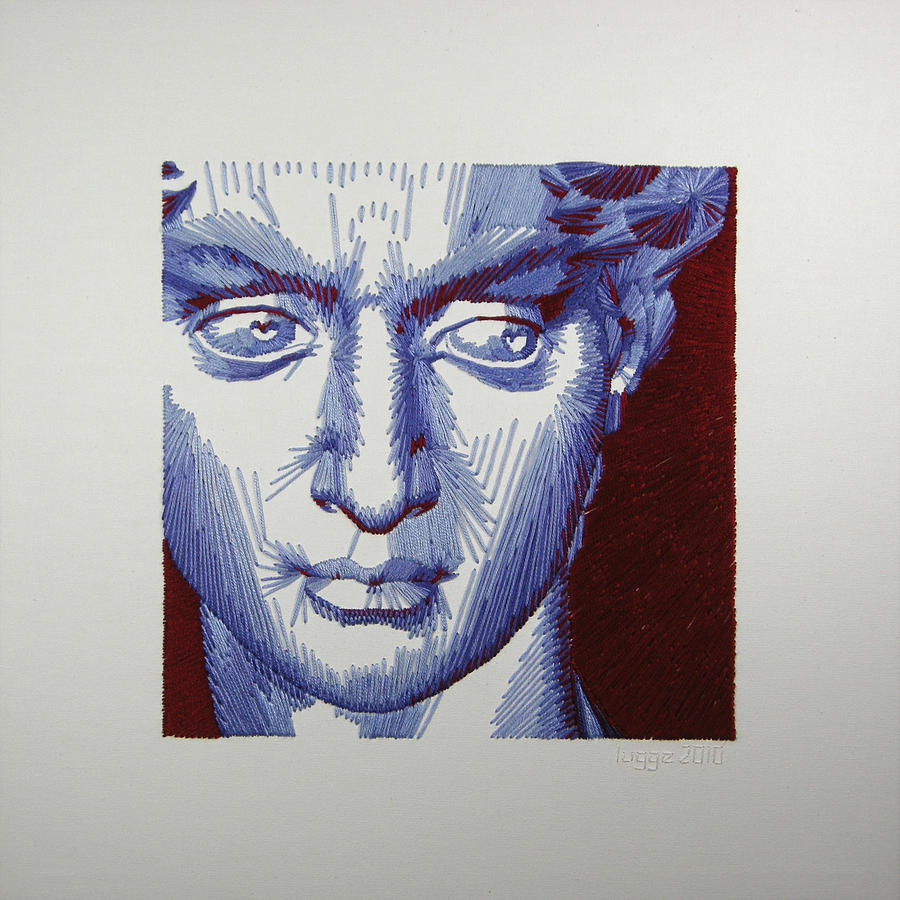 Michelangelo Tapestry - Textile - David In Periwinkle And Burgundy by Barbara Lugge