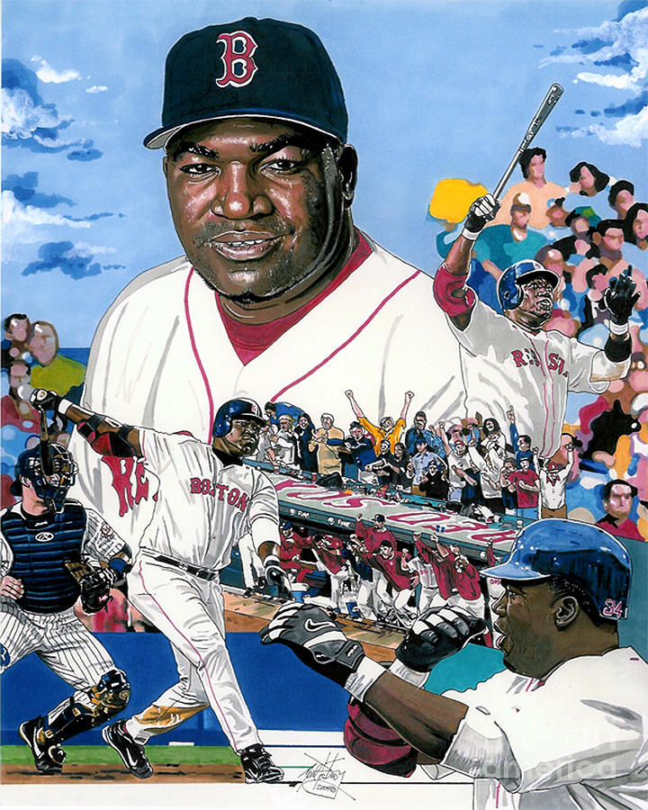Boston Red Sox Drawing - David Ortiz by Neal Portnoy