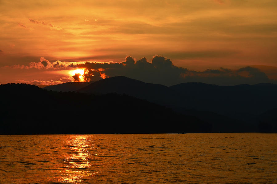 Sunset Photograph - Day Ends In Orange by Susan Leggett