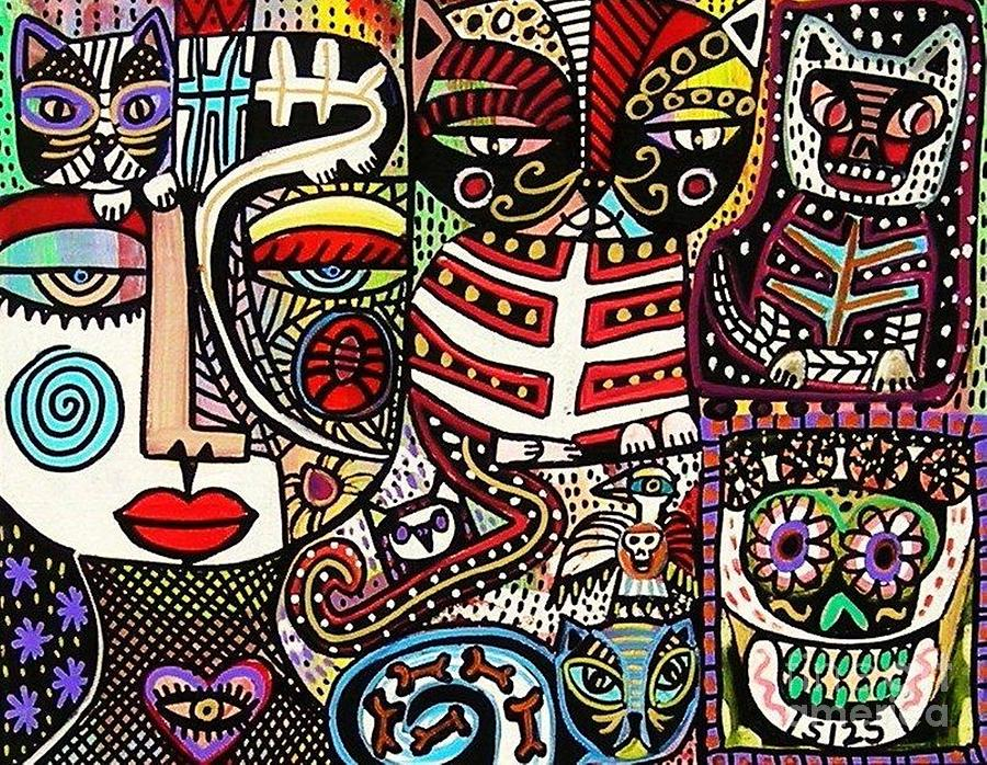Day Painting - Day Of The Dead Cats by Sandra Silberzweig