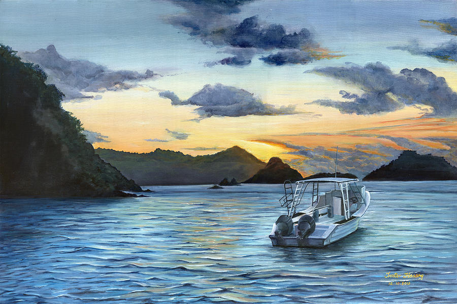 Daybreak Painting - Daybreak At Batteaux Bay by Trister Hosang