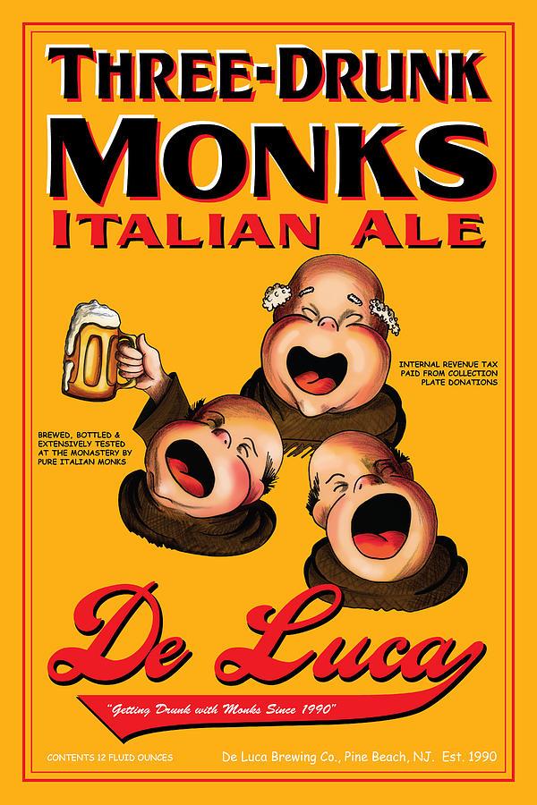 Monks Drawing - De Luca Three Drunk Monks by John OBrien