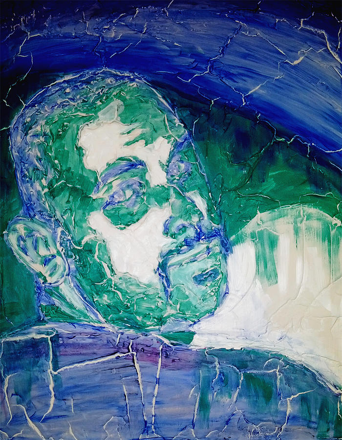 Death Metal Painting - Death Metal Portrait In Blue And Green With Fu Man Chu Mustache And Cracking Textured Canvas by M Zimmerman