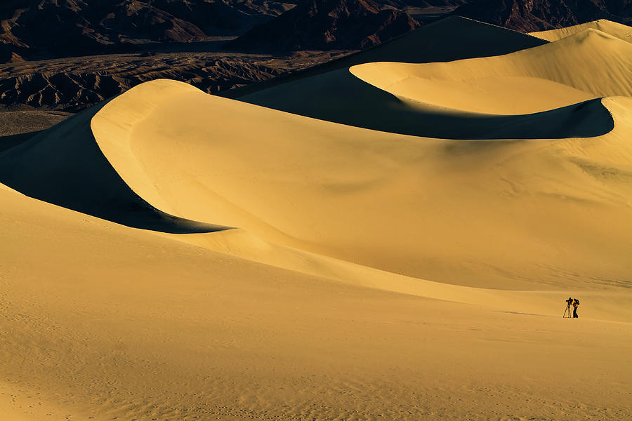 Death Valley And Photographer In Morning Sun Photograph