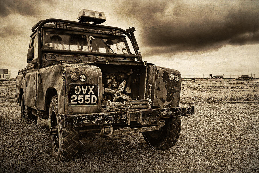 Landrover Photograph - Decaying Landrover At Dungeness by David Turner