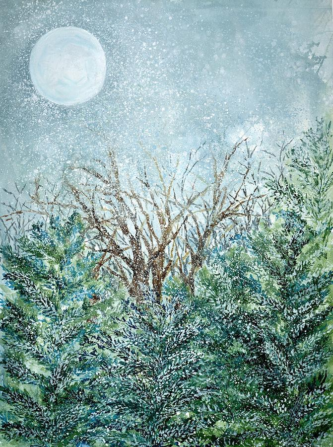 December Painting - December Full Cold Moon by Robin Samiljan