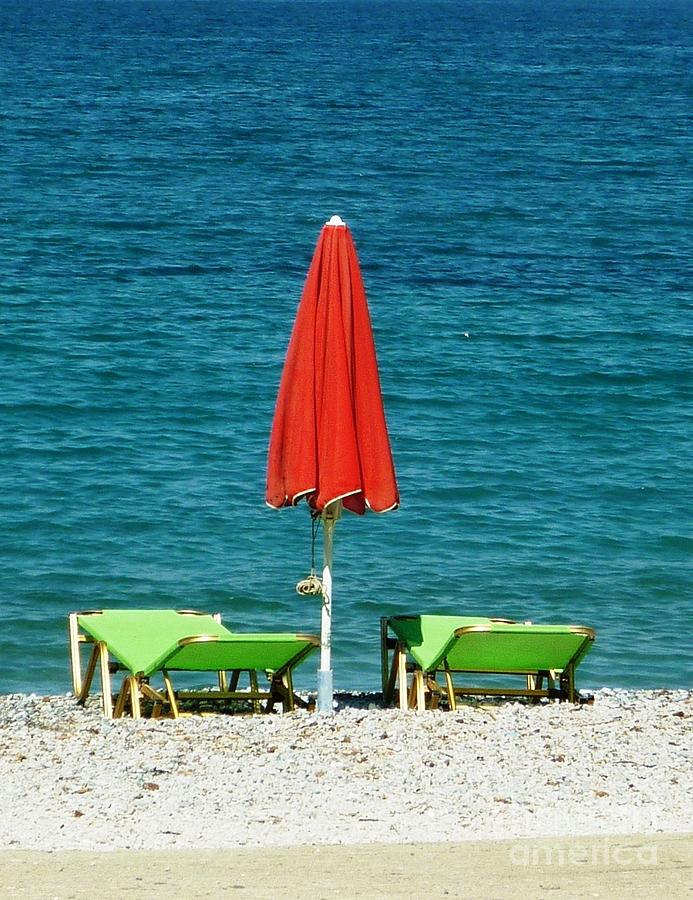 Red Photograph - Deck Chairs by Therese Alcorn