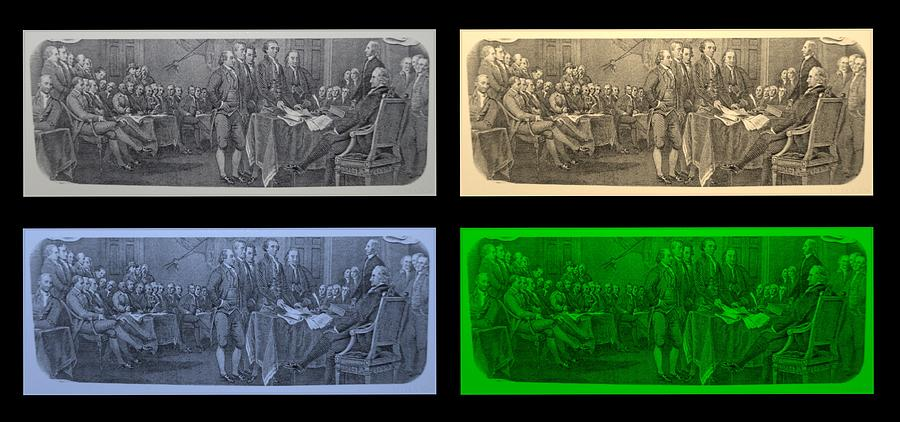 Declaration Of Independence Photograph - Declaration Of Independence In Quad Colors by Rob Hans