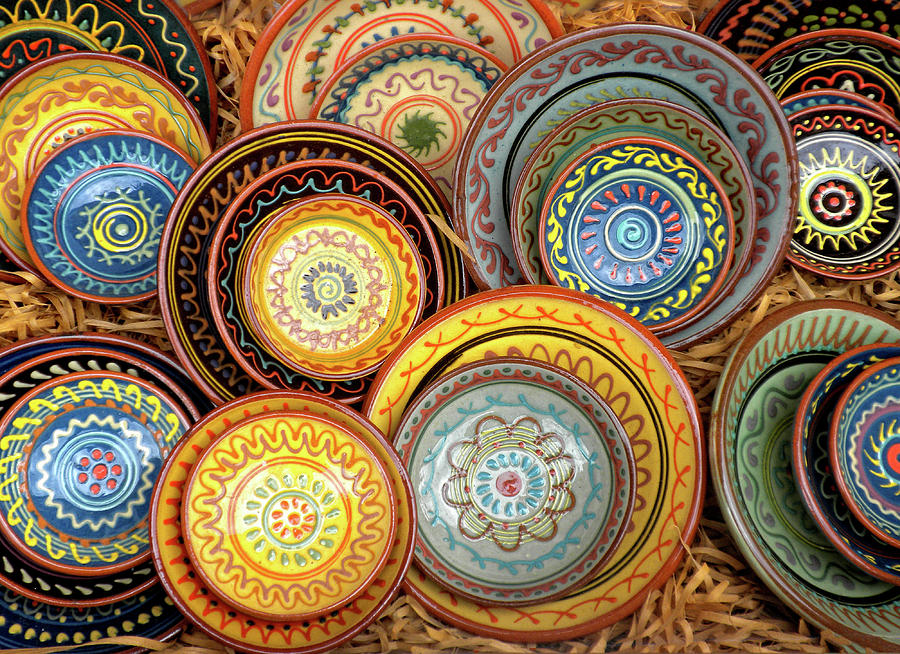 Decorative Plates Photograph - Decorative Plates Provence France by Dave Mills & Decorative Plates Provence France Photograph by Dave Mills