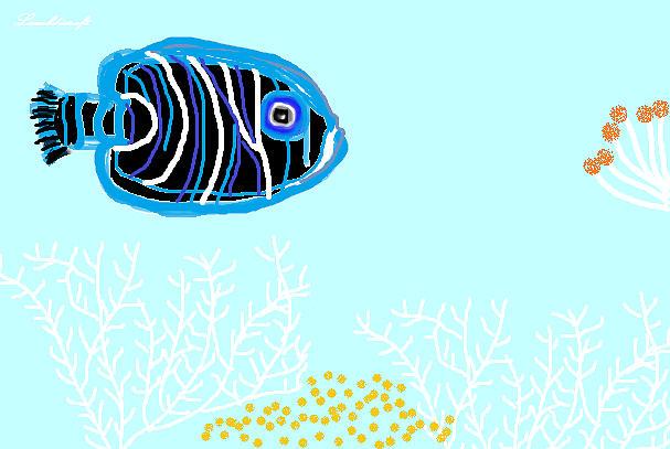 Fish Drawing - Deep Blue Sea by Watcharee Suebkhajorn