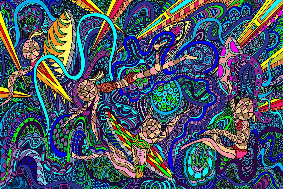 Surfers Painting - Deep Blue Surfing by Karen Elzinga