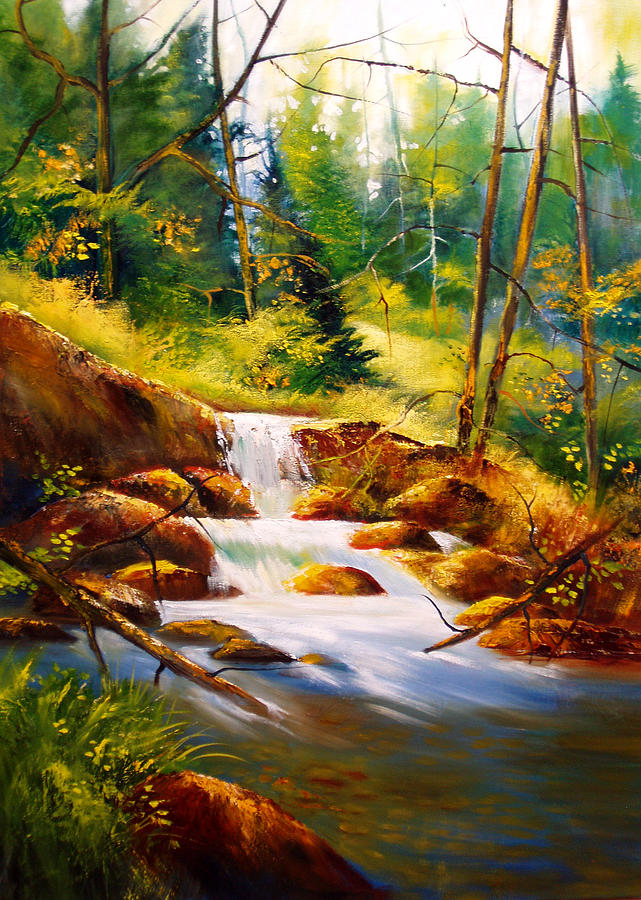 Waterfall Painting - Deep Woods Beauty by Robert Carver