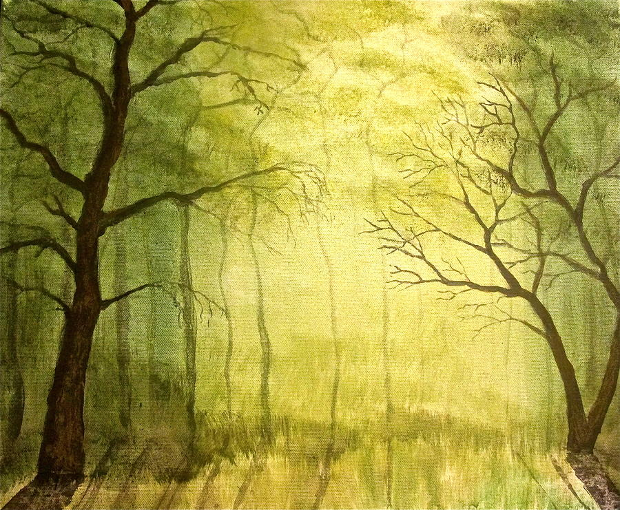 Woods Painting - Deep Woods by Heather Matthews