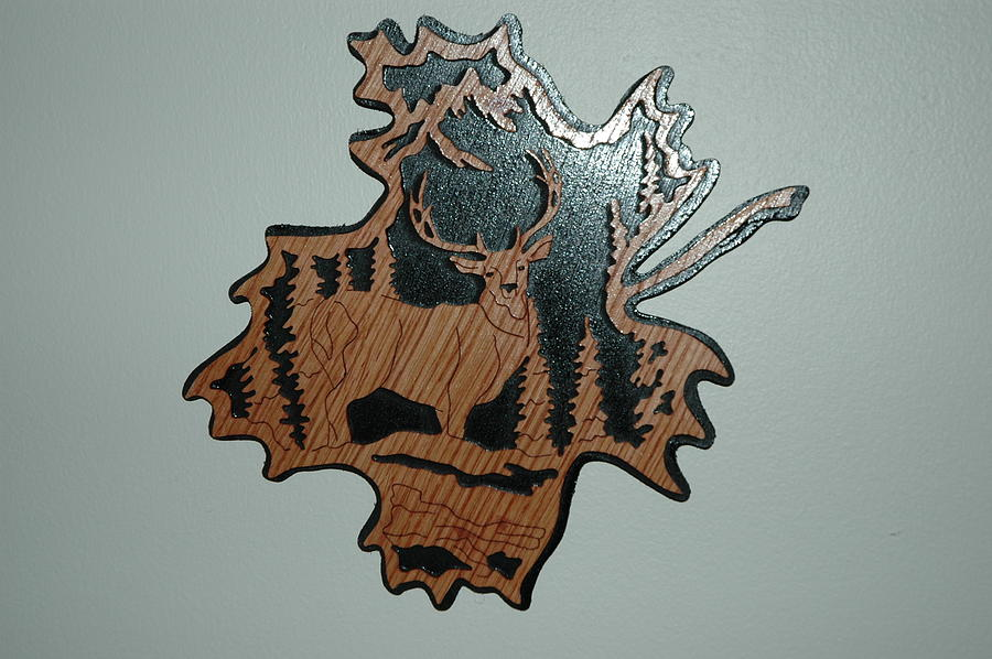 Deer Mixed Media - Deer Forest Leaf by Amy Burke