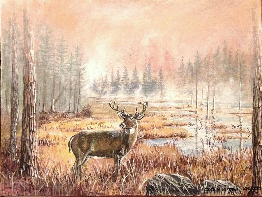 Deer in the foggy swamps Painting by Cecilia Putter
