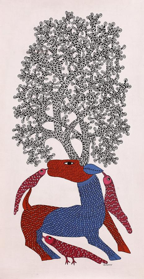 Dilip Shyam Painting - Deer With Tree Of Life Ds 02 by Dilip Shyam