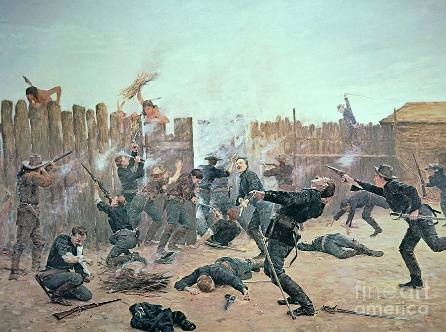 War Painting - Defending The Fort by Charles Schreyvogel