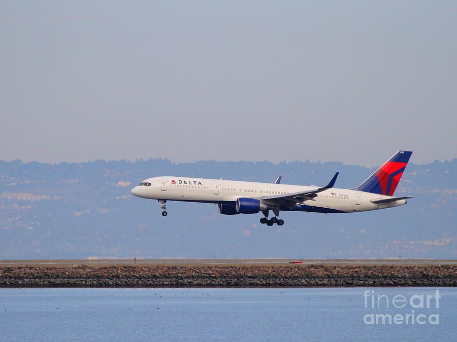 Airplane Photograph - Delta Airlines Jet Airplane At San Francisco International Airport Sfo . 7d12183 by Wingsdomain Art and Photography