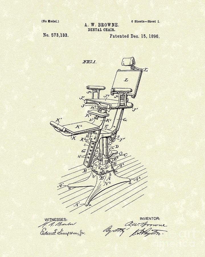 Browne Drawing - Dental Chair 1896 Patent Art by Prior Art Design