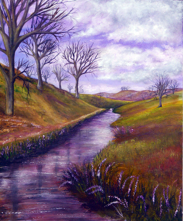 Hand Painted Painting - Derbyshire Brook by Ann Marie Bone