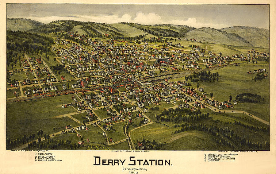 Panoramic Map Digital Art - Derry Station Pennsylvania by Donna Leach