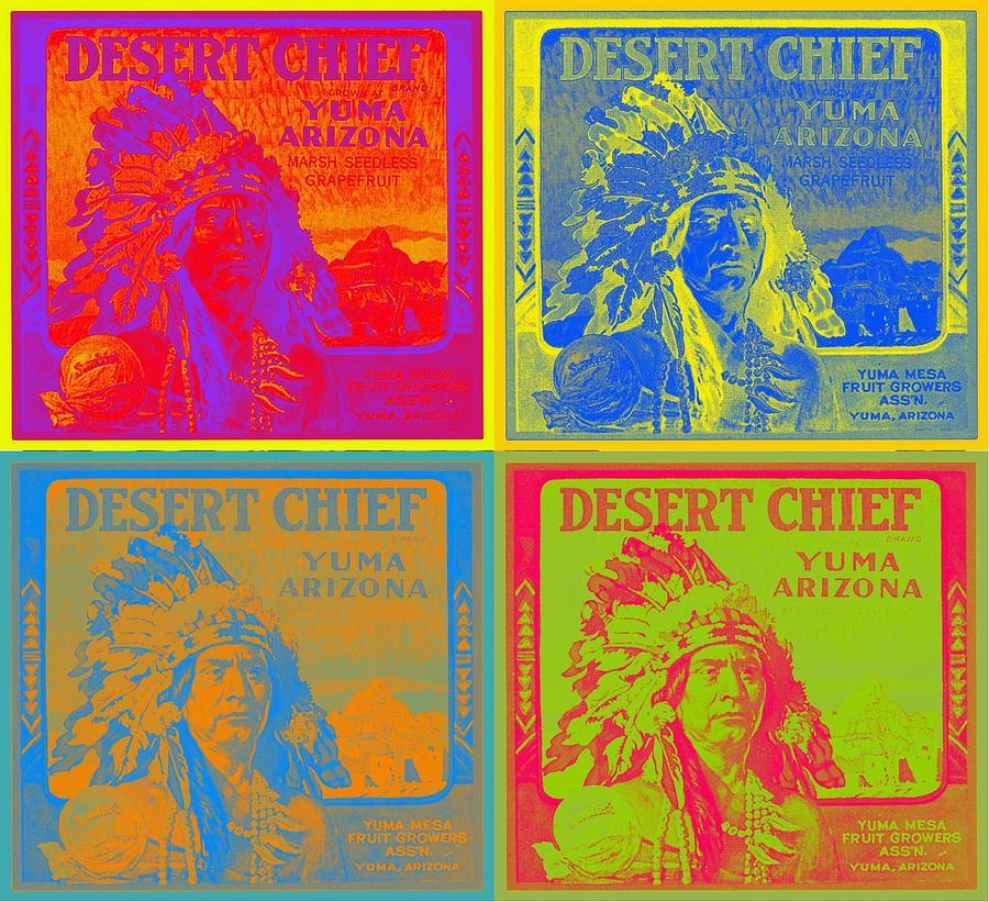 Andy Warhol Digital Art - Desert Chief Cigar Box Label by Dwayne  Graham