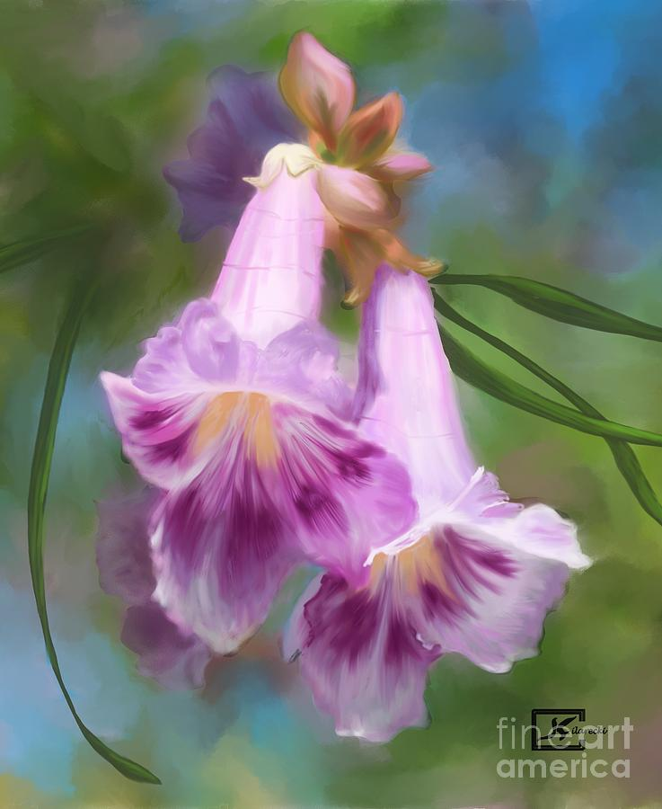 Desert Willow Painting - Desert Willow Floral Wall Art by Judy Filarecki