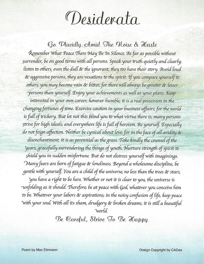Desiderata Poem Poster Max Ehrmann Ocean Wave Mixed Media - Desiderata Ocean Wave by Desiderata Gallery
