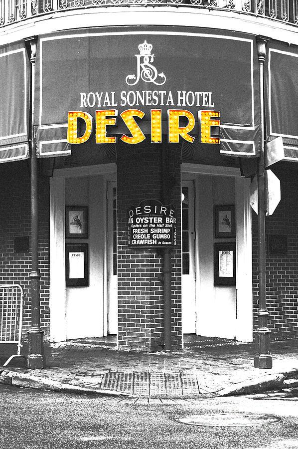 Desire Corner Bourbon Street French Quarter New Orleans Film Grain