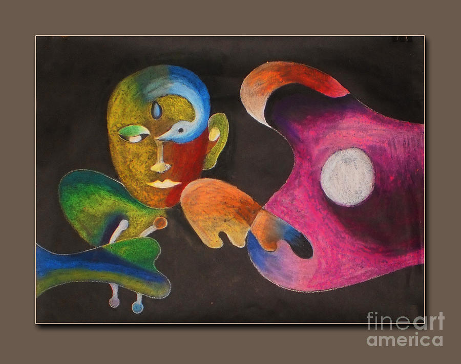 music guitar desire abstract musical Abstract composition guitar musical Instrument Pastel - Desire  by Sanjeev Babbar