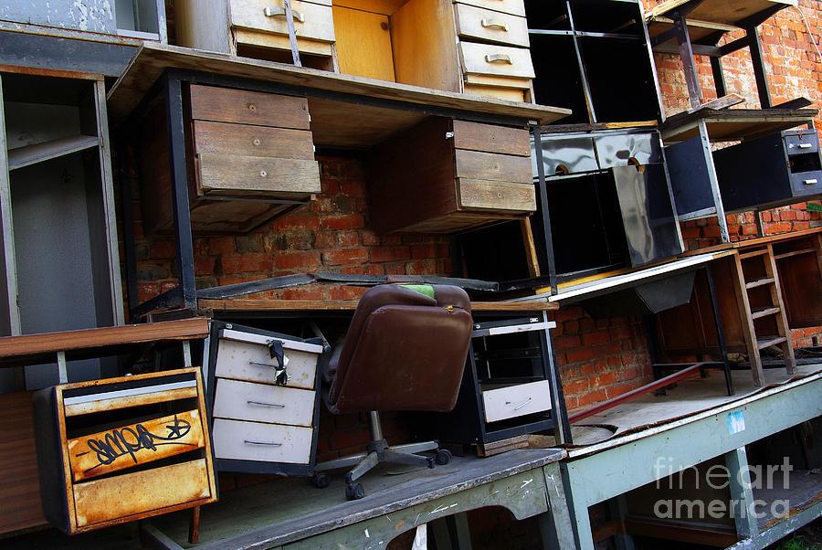 Abandoned Photograph - Desk Scrap by Carlos Caetano