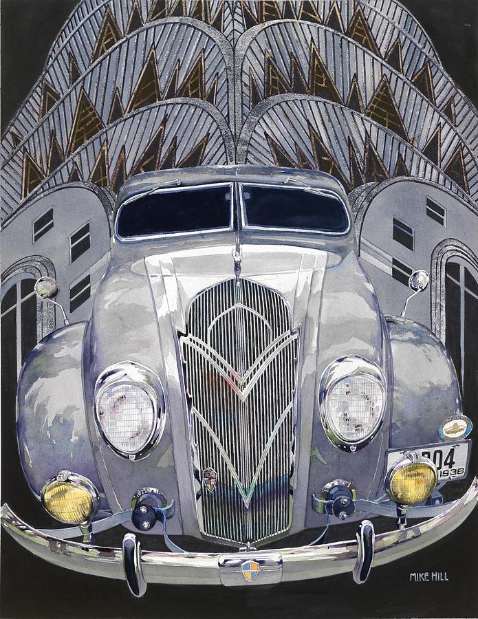 Desoto Desoto De Soto Design Chrysler Building New York Silver Leaf Foil Gold Leaf Foil Antique Automobile Auto Car Collector Car Grille Volkswagon Watercolor Gouache Painting - Desoto And Deco Design by Mike Hill