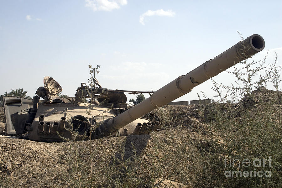 Baghdad Photograph - Destroyed Iraqi Tanks Near Camp Slayer by Terry Moore